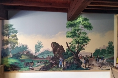 Chasse à courre, panoramique peint à la gouache.