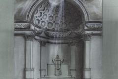 Maquette pour le projet d'une abside en trompe l'oeil.