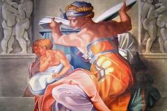 Reproduction de la Sibylle de Libye, d'après Michel-Ange. Huile sur toile.